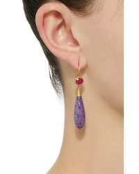 Mallary Marks - Purple Apple & Eve 18k Gold Ruby And Chorite Earrings - Lyst