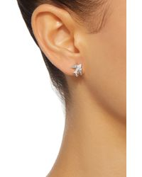 Colette - Metallic Mini Bird Huggies 18k White Gold Diamond Earrings - Lyst