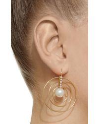 Mizuki - Metallic 14k Pearl And Diamond Three Ring Earring - Lyst