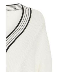Carven - White V-neck Merino Wool Sweater - Lyst