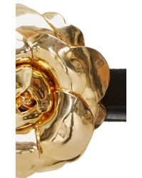 Oscar de la Renta - Metallic Gold Floral Belt - Lyst