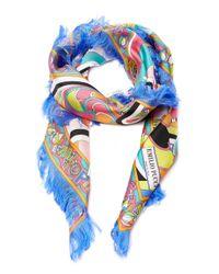 Emilio Pucci - Blue Fringed Printed Silk-twill Scarf - Lyst