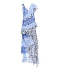Tanya Taylor Blue Gael Ruffle Floral Dress