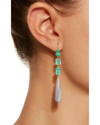 Sylva & Cie - Green Emerald And Opal Drop Earrings - Lyst