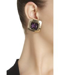 Alessandra Rich - Purple Jewel Square Earrings - Lyst