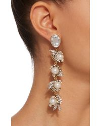 Erickson Beamon - White Delicate Balance 24k Gold-plated Crystal And Pearl Earrings - Lyst