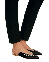 Malone Souliers - Black Zelda Leather-trimmed Silk-satin Point-toe Flats - Lyst
