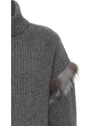 Sally Lapointe - Gray Exclusive Touch Of Fur Cashmere Sweater - Lyst