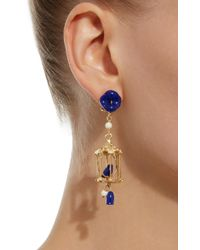 Of Rare Origin - Blue Pagoda 18k Yellow Gold Vermeil, Lapis And White Agate Earrings - Lyst
