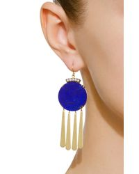Sylva & Cie - Metallic 18k Gold, Lapis And Diamond Earrings - Lyst