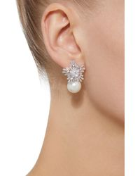 Fallon - White Starburst Rhodium And Crystal Pearl Drop Earrings - Lyst