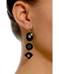 Ashley Pittman - Brown Zambarau Dark Horn, Rose Quartz And Garnet Earrings - Lyst