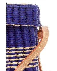Nannacay - Blue M'o Exclusive Medium Roge Straw Tote With Pompoms And Strap - Lyst