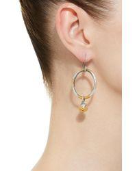 Bottega Veneta - Metallic Antique Silver Drop Hoop Earrings - Lyst