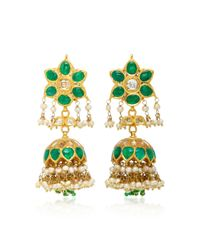 Amrapali - Green One-of-a-kind Diamond, Emerald And Pearl Drop Earrings - Lyst