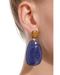Isabel Marant | Blue Square Gold-tone Ceramic Earrings | Lyst