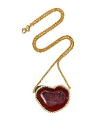 Kimberly Mcdonald | Red Heart-shaped Geode And Diamond Pendant | Lyst