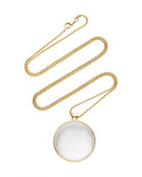Noor Fares   Khaalee Large Rock Crystal Quartz Amulet In Yellow Gold And White Mother Of Pearl Backing   Lyst
