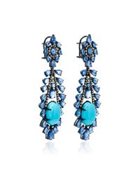 Sutra - Blue Turquoise And Sapphire Drop Earrings - Lyst