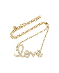 Sydney Evan | Metallic Extra Large Love Script Necklace | Lyst