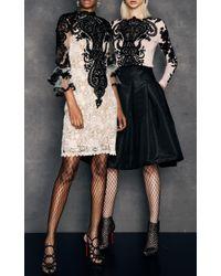 Naeem Khan - White Three Quarter Sleeve Lace Mini Dress - Lyst