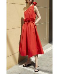 Goen.J - Red One Shoulder Midi Dress - Lyst