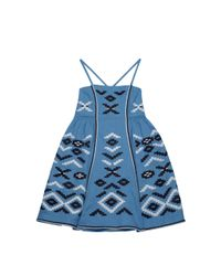 MARCH11 - Blue Serena Embroidered Mini Dress - Lyst