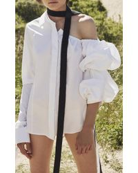 Tuinch - White Off The Shoulder Button Down Shirt - Lyst
