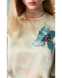 Paule Ka - Multicolor Floral Embellished Silk Top - Lyst