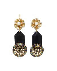 Lulu Frost | Black M'o Exclusive Vintage Crystal And Faux Pearl Earrings | Lyst