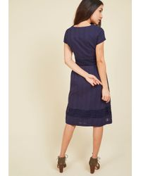 ModCloth | Blue Fall Where They Maze Midi Dress | Lyst