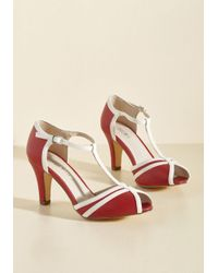 Chelsea Crew | Red Earn Your Peep T-strap Heel In Crimson | Lyst