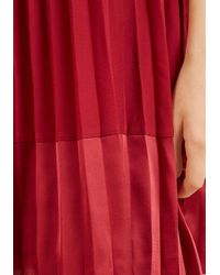 English Factory - Black Pleat And Greet Shift Dress In Burgundy - Lyst
