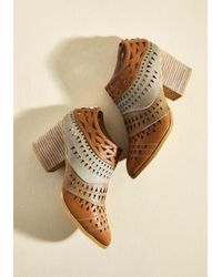 ModCloth | Brown Lively In Layers Block Heel Bootie | Lyst
