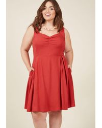 ModCloth - Red Retro Glow Pin-up A-line Dress In Crimson - Lyst