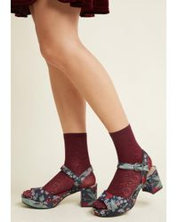 ModCloth | Red Toes To The Occasion Floral Lace Socks | Lyst