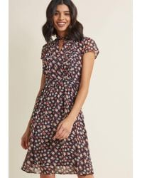 ModCloth - Multicolor Oh Say Can Museum Floral Dress In Navy Bloom - Lyst