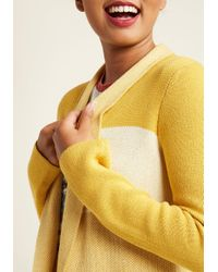 ModCloth - Yellow Simply Snuggly Colorblock Cardigan In Marigold - Lyst