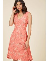 ModCloth | Pink Posh Participant A-line Dress In Coral | Lyst