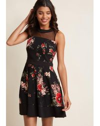 ModCloth - Black Just The Sway You Are Floral Mini Dress - Lyst