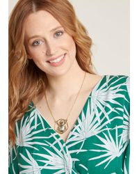 ModCloth - Metallic Fair And Scarab Pendant Necklace - Lyst