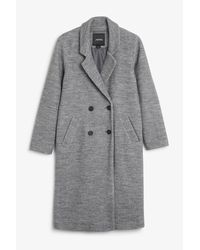 Monki | Black Double-breasted Coat | Lyst