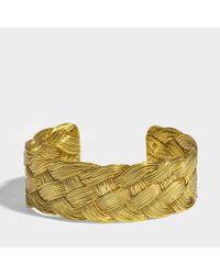 Aurelie Bidermann - Multicolor Braided Cuff In 18k Gold-plated Brass - Lyst