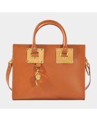 Sophie Hulme - Medium Box Tote In Brown Calfskin - Lyst
