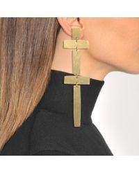 Annie Costello Brown - Metallic Double Cross Earrings - Lyst