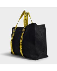 Off-White c/o Virgil Abloh - Black Logo Handle Cotton-canvas Tote Bag - Lyst