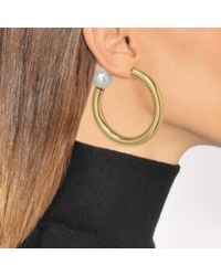 Sonia Rykiel - Metallic Loop Earrings With A Pearl In Gold Brass And Pearl - Lyst