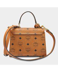 MCM - Brown Heritage Satchel Bag In Cognac Visetos - Lyst