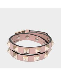 8629ddcb5db1 Valentino Rockstud Double Rows Bracelet Or Choker Necklace In Powder ...