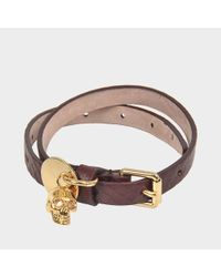Alexander McQueen - Red Skull Charm Double Bracelet - Lyst